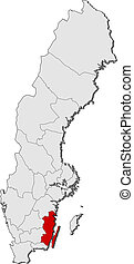 Map of Sweden, Kalmar County highlighted - Political map of...