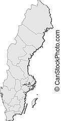 Map of Sweden - Political map of Sweden with the several...