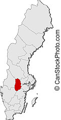 Map of Sweden, Oerebro County highlighted - Political map of...