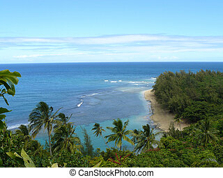 Kee Beach, Kauai - Ke'e Beach seen from the Kalalau Trail on...