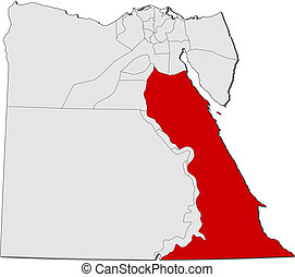 Map of Egypt, Red Sea highlighted