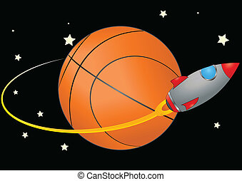 space basketball - illustration of spacecraft that orbits a...