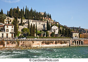 Verona cityscape - View of San Pietro Castle in Verona,...