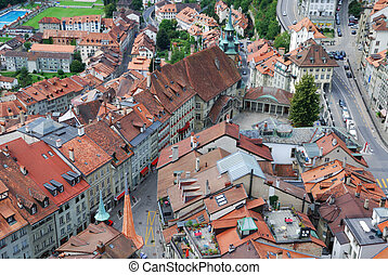 Old city of Fribourg from above. - Fribourg is photographed...