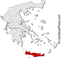 Map of Greece, Crete highlighted