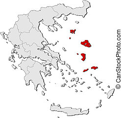 Map of Greece, North Aegean highlighted - Political map of...