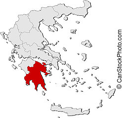 Map of Greece, Peloponnese highlighted