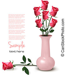 Roses in a vase  Vector