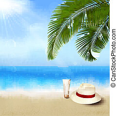 Seaside view with palm leaves
