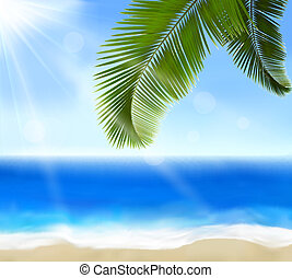 Seaside view with palm leaves Summer holidays concept...