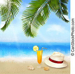 Seaside view with palm leaves, coctail and traveller s hat...