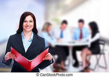 Beautiful business woman - Beautiful business woman and a...
