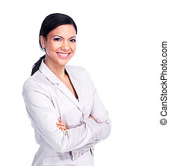 Young business woman - Young Young business woman Isolated...