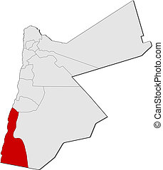 mapa, Jordan, Aqaba, Highlighted