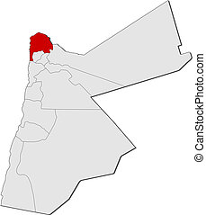 mapa, Jordan, Irbid, Highlighted