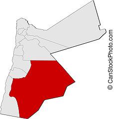 Map, Jordan, Ma'an, highlighted