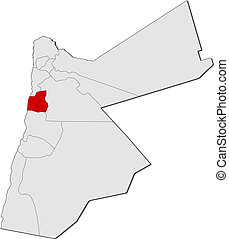 mapa, Jordan, Madaba, Highlighted