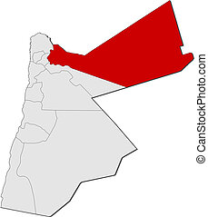 mapa, Jordan, Mafraq, Highlighted