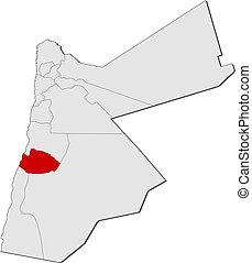 mapa, Jordan, Tafilah, Highlighted