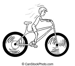 Kid with bicycle - Kid with too big bicycle. Vector...
