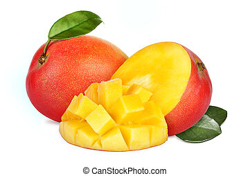 Mango fruit - Mango with section on a white background