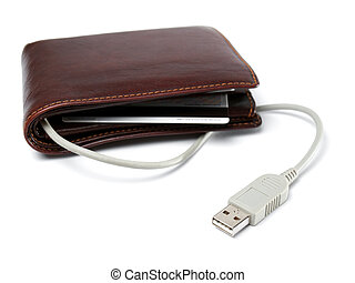 Electronic wallet - Conceptual view of a wallet with cable...