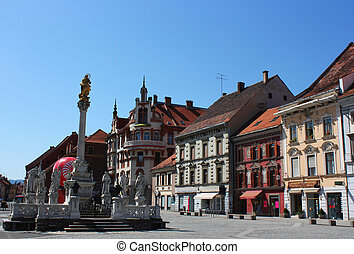 Maribor main square plague monument - main square with...