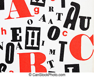 red black white - letters mixture - mix of different red,...