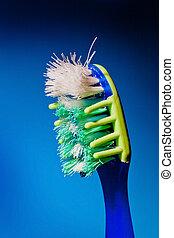 Danificado, limpo, escova de dentes, Escovar