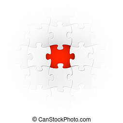 Vector background made from white puzzle pieces with one...
