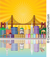 San Francisco City Skyline at Sunrise Illustration - San...