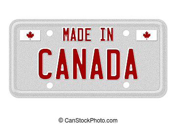 Made in Canada License Plate - The words Made in Canada in...