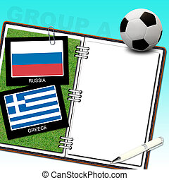 Soccer ball with flag greece and russia
