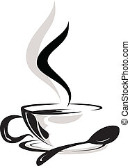 silhouette of cup coffee lover