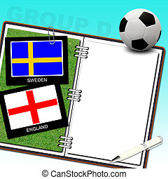 Soccer ball with flag sweden and england