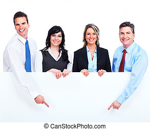 Group of business people with banner. - Group of business...