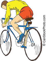 Athlete bicyclist - Cyclist on the sports bike. Vector...