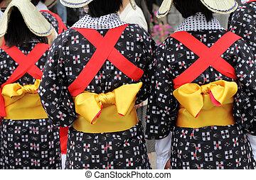 Traditional kimono - Traditional clothes of kimono, closeup...