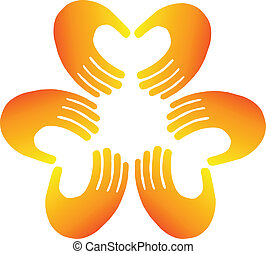 Teamwork hands doing a heart shape logo vector