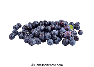 Fistful of blueberry, isolated on white background