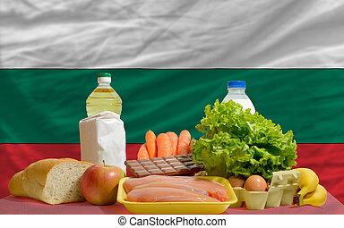 basic food groceries in front of bulgaria national flag
