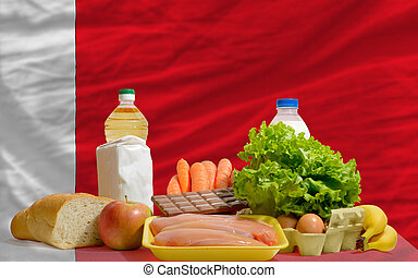 basic food groceries in front of bahrain national flag