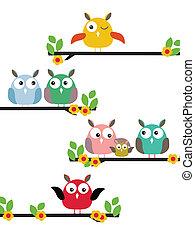 cartoon bird on a flowering tree - vector illustration of...