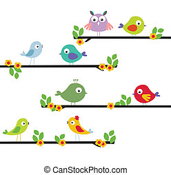 different cartoon bird on a tree - vector illustration of...
