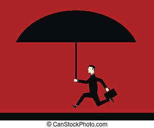 Businessman Big Umbrella