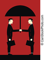 Businessman Umbrella Cooperation