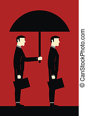 Businessman Umbrella Protecting Cli