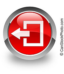 Logout glossy icon - Logout icon on glossy red round button