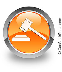 Justice glossy icon - Justice icon on glossy orange round...