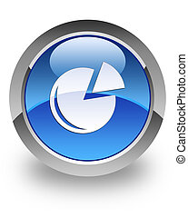 Graph glossy icon - Graph icon on glossy blue round button